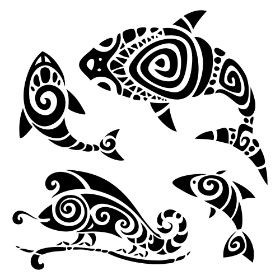 Simbolos Maori on circle design pattern